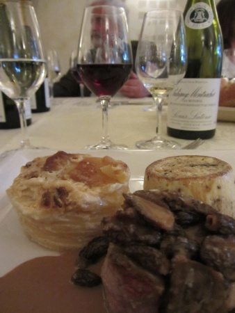 Beef, mushroom soufle and Pinot noir