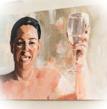Marittie de Villiers' painting.  Cheers to Chardonnay!