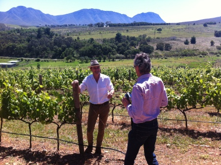 Anthony Hamilton Russell explaining Hemel-en-Aarde Valley Pinot noir to Andrew Jefford.